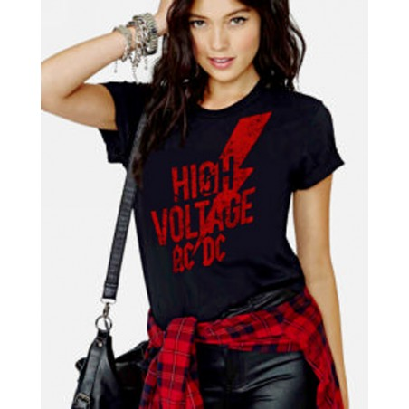 Koszulka AC/DC - HV Red Logo Ladies Black - t shirt damska
