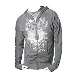 Bluza Falling In Reverse (bluza z wilkiem, suwakiem i kapturem beżowa)