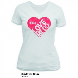 The Beatles - Beatles Love Me Do White Ladies V Neck